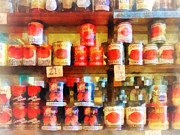 Italian Market Shelves Photo Prints - Canned Tomatoes Print by Susan Savad