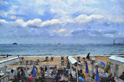 Old Town Digital Art Framed Prints - Cannes Beach at Breakfast Framed Print by Yury Malkov