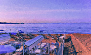 Old Town Digital Art Prints - Cannes Beach before Breakfast Print by Yury Malkov
