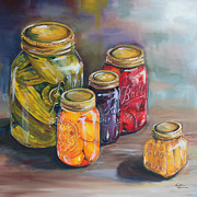 Peaches Painting Prints - Canning Jars Print by Kristine Kainer