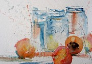 Mason Jars Painting Framed Prints - Canning Peaches Framed Print by Sandra Strohschein