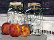 Peaches Art - Canning Time by Barbara Jewell