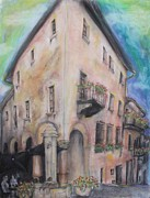 Old Town Pastels Framed Prints - Cannobio Framed Print by Michelle Conard