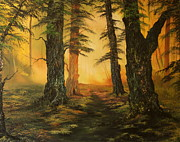 Jean Painting Originals - Cannock Chase Forest in Sunlight by Jean Walker