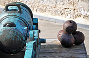Florida Landscape Photography Prints - Cannon and Cannon Balls at Castillo de San Marcos Print by Bruce Gourley