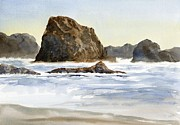 Oregon Posters - Cannon Beach Rocks with Waves Poster by Sharon Freeman