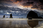 Monolith Metal Prints - Cannon Beach Sunset Metal Print by Andrew Soundarajan