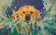 Golden Retriever Paintings - Cannonball by Kimberly Santini