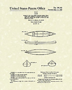 Sports Art Drawings Metal Prints - Canoe 1963 Patent Art Metal Print by Prior Art Design
