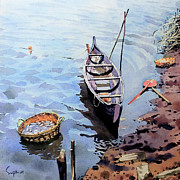 Canoe Painting Posters - Canoe and Creel Poster by Sujith VT