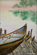 Paddles Paintings - Canoe and Paddles by Sandra Stone