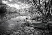 White River Scene Posters - Canoe at the Lake Black and White Poster by Debra and Dave Vanderlaan
