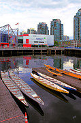 Vancouver Digital Art Prints - Canoe Club And Telus World Of Science In Vancouver Print by Ben and Raisa Gertsberg