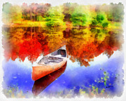 Autumn Landscape Digital Art Framed Prints - Canoe on Autumn Pond Framed Print by Anthony Caruso