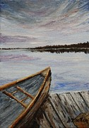 Paddles Paintings - Canoe on Dock by Donna Muller