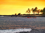 Canoe On Kona Coast Print by Athala Carole Bruckner