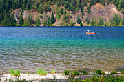 Boaters Prints - Canoe on Lake Crescent Print by Connie Fox