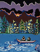Canoe Painting Posters - Canoe on Lightning Lake Poster by Joyce Gebauer