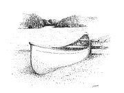 Canoe Drawings Metal Prints - Canoe on the beach Metal Print by Steve Knapp