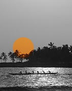Hawaii Beaches Prints - Canoe Ride In The Sunset Print by Athala Carole Bruckner