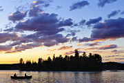 Canoeing At Sunset Print by Elena Elisseeva