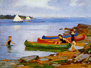 Canoes Digital Art - Canoeing by Edward Potthast