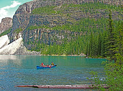 Canoeing Digital Art - Canoeing in Morraine Lake in Banff NP-Alberta by Ruth Hager