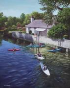 P Town Paintings - Canoeing on the river avon Christchurch UK by Martin Davey