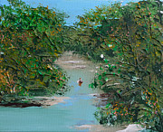 Canoe Painting Posters - Canoeing On The White River Poster by Alys Caviness-Gober