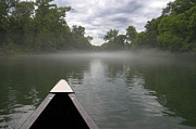 Mysterious Landscape Prints - Canoeing the Ozarks Print by Adam Romanowicz