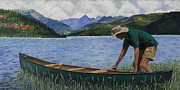 Canoe Painting Posters - Canoeing Vallecito Poster by Timithy L Gordon