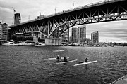 Canoe Art - canoeists canoeing along false creek underneath the granville bridge Vancouver BC Canada by Joe Fox