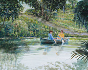 Boaters Painting Prints - Canoers Enjoying the Day Print by Nancy Chenet