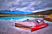 Canoe Metal Prints - Canoes at Lake Patricia Metal Print by Tara Turner