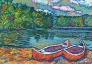 Canoe Painting Posters - Canoes at Mountain Lake Sketch Poster by Kendall Kessler