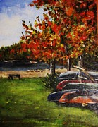 Canoe Painting Posters - Canoes By the Lake Poster by Andrea Flint Lapins