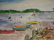 Canoes Originals - Canoes on Beach by Linda Solomon