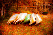 Sonja Quintero Prints - Canoes on Caddo Lake Print by Sonja Quintero