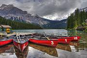 Canoes On Emerald Lake Print by Darlene Bushue