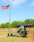 Flag Pole Digital Art - Canon at fort by Cheryl Casey