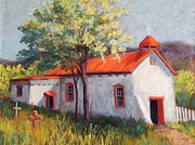 Red Roof Pastels - Canoncito Church by Candy Mayer