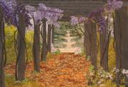 Purple Flowers Tapestries - Textiles Posters - Canopy of Serenity Poster by Anita Jacques