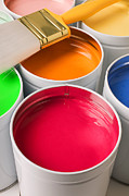 Paintbrush Photo Posters - Cans of colored paint Poster by Garry Gay