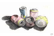Cans Drawings - Cans Sketch by Conor OBrien