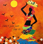African Dance Mixed Media Posters - Cant you just feel it Poster by Charleen Martin