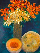 Cantaloupe Painting Prints - Cantaloupe and a Half Print by Sherry Killam