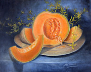 Cantaloupe Paintings - Cantaloupe and Forsythia Flowers by Sharen AK Harris