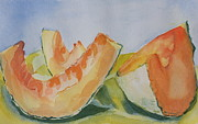 Cantaloupe Paintings - Cantaloupes by Jan Bennicoff