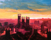 Paul Mitchell Acrylic Prints - Canterbury Hazy Skyline Acrylic Print by Paul Mitchell