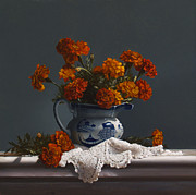 Pitcher Painting Prints - Canton Pitcher With Marigolds Print by Larry Preston